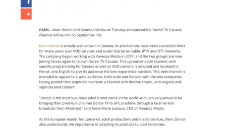 DorcelTV Canada channel launch: talking about it in the USA.
